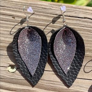 Pinched Leaf Layered  Faux Leather Earrings